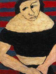 Carol Rama, Betty, 1938, Oil and tar on canvas, 64 x 50 cm, collection GCM, courtesy Archive Carol Rama, MyTemplArt Magazine