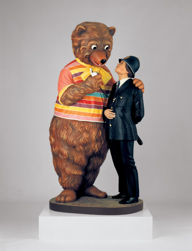Jeff Koons, Bear and Policeman, 1988. Polychromed wood; 85 × 43 × 37 in. (215.9 × 109.2 × 94 cm). Artist's proof. Collection of Jeffrey Deitch. © Jeff Koons
