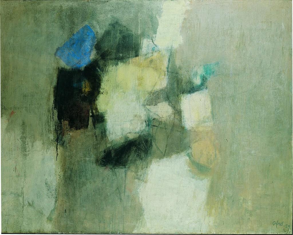 Afro, L'isola del giglio, 1959/69, tecnica mista su tela, seconda versione dell'opera del '59 con cui Afro vinse il Premio Guggeheim International a New York nel 1960, Collezione privata