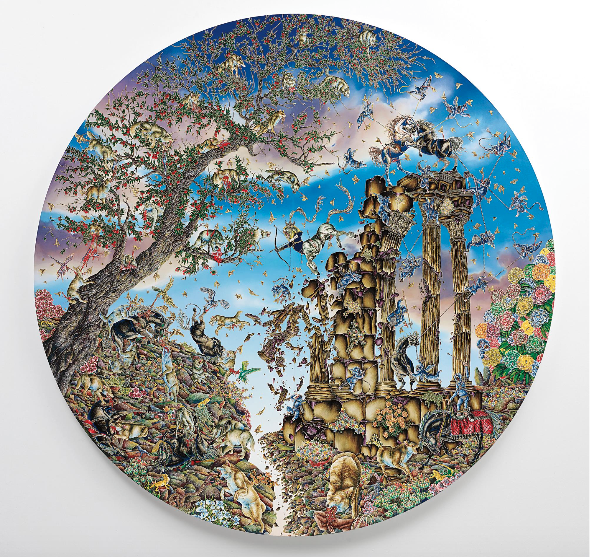 Picture 2 Raqib Shaw  Arrival of the Horse King (Paradise Lost Series) (2011-2012) oil, acrylic, polish, glitters and paillettes on wooden plate (Ø 274,3 cm)  Sold: $ 1,1 millions  Phillips, London, 06/29/2015 © Raqib Shaw. Photo © White Cube (Ben Westoby)
