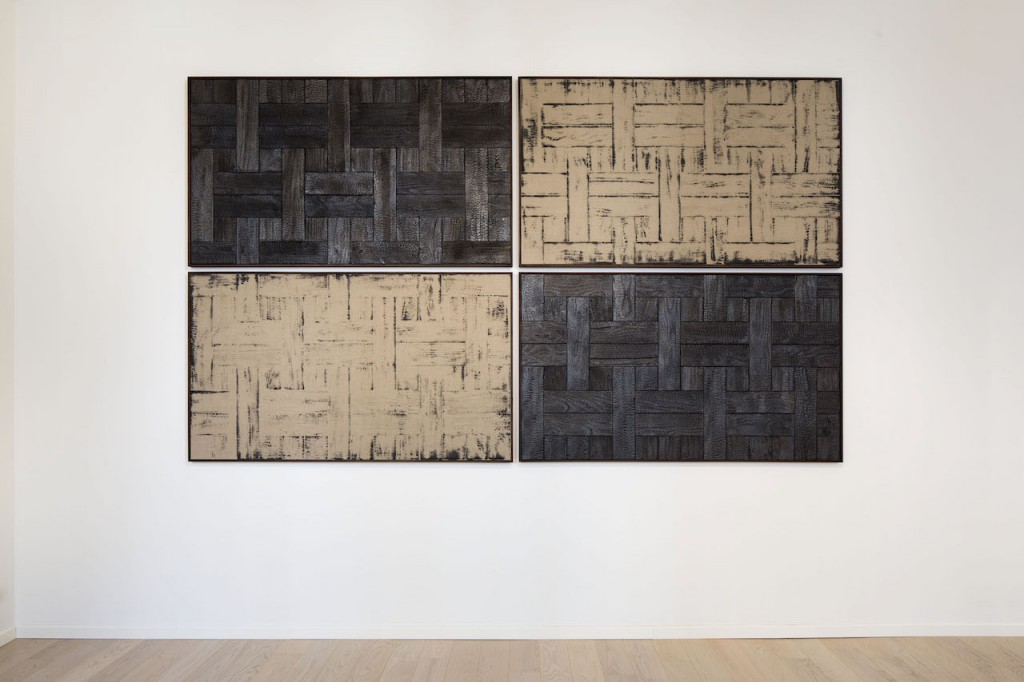 Installation view, Davide Balula Burnt Painting, Imprint of a Burnt Painting, 2015, diptych, charred wood, dust of charred wood on canvas 195 x 130 cm each Courtesy galerie frank elbaz, Paris. Ph. Agostino Osio.