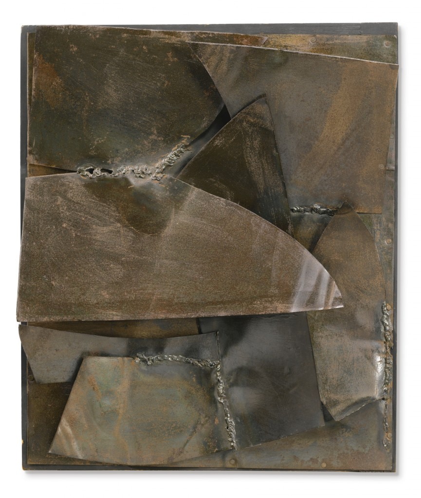 Alberto Burri  Ferro Signed, titled, inscribed and dated 1959 on the reverse, iron on the wood. Estimate 500,000 — 700,000 EUR Courtesy of Sotheby's