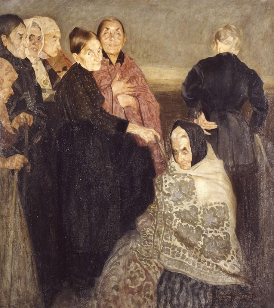 Felice Casorati, Le vecchie comari, 1908 ca., oil on canvas. Verona, Galleria d'Arte Moderna Achille Forti. Courtesy of the museum.