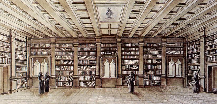 Raffigurazione della Biblioteca del XVII - XIX - Biblioteca Frati Minori Conventuali del Sacro Convento di San Francesco in Assisi