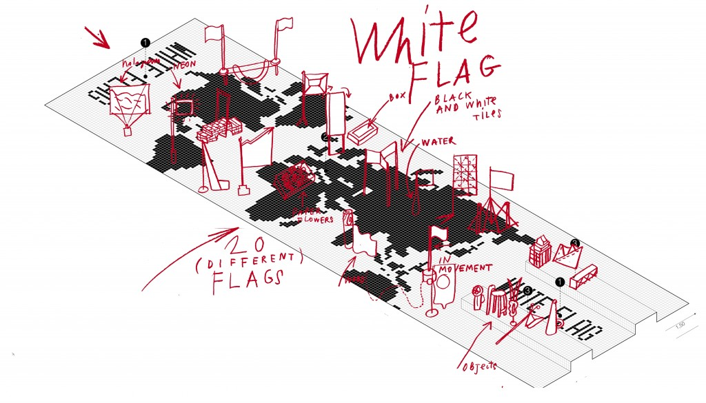 White Flag; Drawing for catalogue